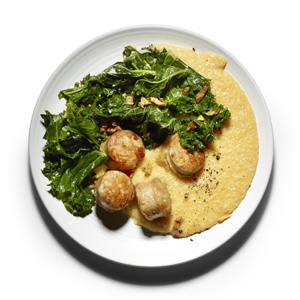 Braised Kale, Sausage, and Creamy Polenta