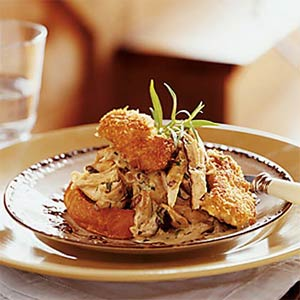 Open-Faced Turkey Croissant with Pan-Fried Oysters