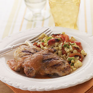 Chicken Thighs with Chipotle-Peach Sauce