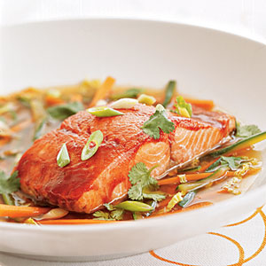 Hoisin-glazed Wild Alaska Salmon in Ginger Broth