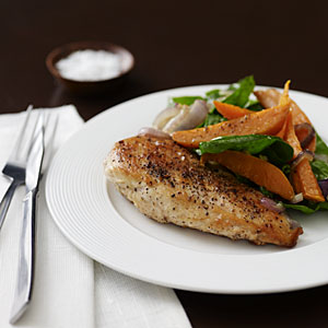 Chicken with Roasted Sweet Potato Salad