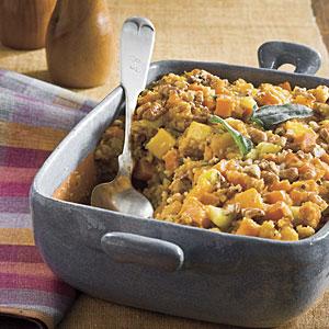 Cornbread Stuffing With Sweet Potato and Squash