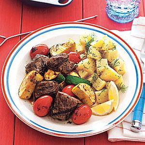 Sirloin-Vegetable Kebabs with Balsamic Glaze