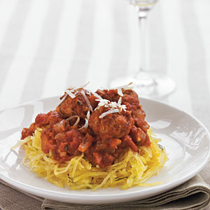 Meatless Meatballs over Herbed Spaghetti Squash