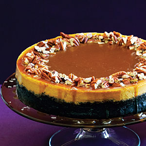 Pumpkin-Orange Cheesecake with Chocolate Crust and Salted Caramel