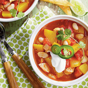 Chicken-and-White Bean Chili with Pumpkin