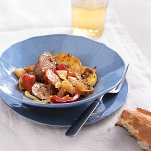 Sausage and Peppers with Crispy Polenta
