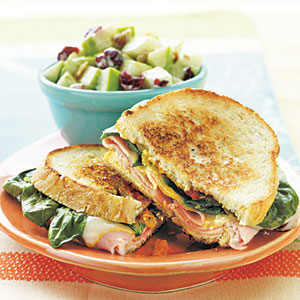 Grilled Ham, Muenster, and Spinach Sandwiches
