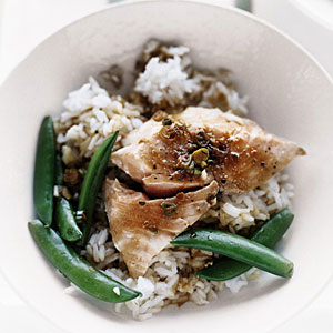 One-Pot Salmon with Snap Peas and Rice