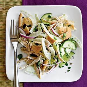 Pita Salad with Cucumber, Fennel, and Chicken