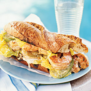 BBQ Shrimp Po' Boys with Pickled Green Tomatoes