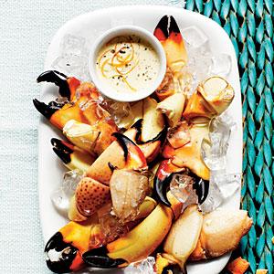 Stone Crab Claws with Zesty Orange-Horseradish Sauce