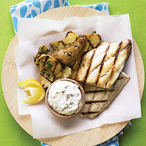 "Grilled Fish and ""Chips"""