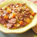 Mixed bean soup with steak