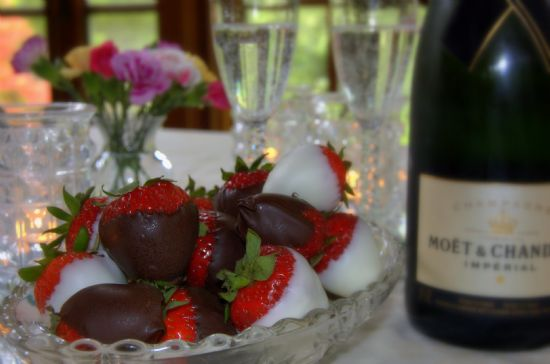 Chocolate covered champagne strawberries