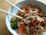 Quick, Asian inspired, Veggie and rice noodle dish