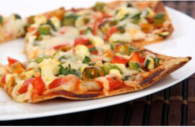 Tortilla Vegetable pizza