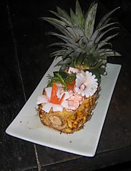 Warm Squid in Half A Pineapple