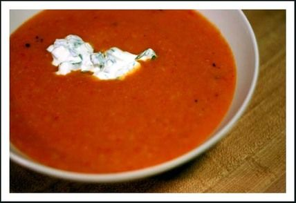Creamy Cauliflower and Roasted Red Pepper Soup