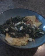 Tomato omlette w/sautee spinach