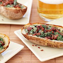 Baked Potato Skins With Creamy Spinach and Turkey Bacon