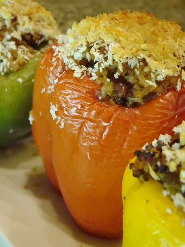 Veggie Crumbles Stuffed Peppers
