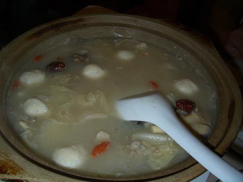 Meatballs and mushroom soup