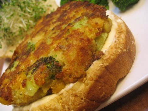 Curried Chickpea Patties with Broccoli