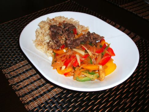 Lemon Beef Slices with Peppers and Mushrooms