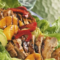Sizzling BBQ Teriyaki Chicken with Salad Greens