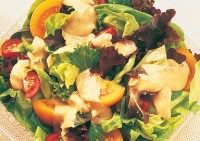 Garden Salad with Creamy Honey Mustard Dressing