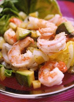 Shrimp with Avocados