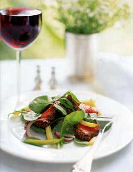 Mustard-Crusted Beef Tenderloin with Arugula, Red Onion, and Wax Bean Salad