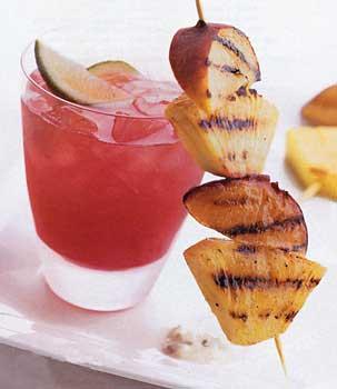 Skewered Grilled Fruit with Minted Yogurt Honey Sauce