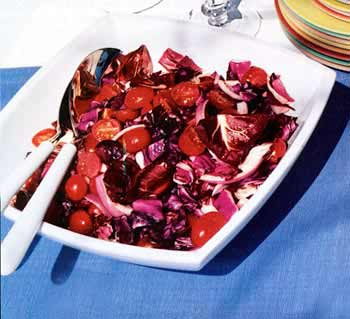 Radicchio, Red Cabbage and Tomatoes with Orange Vinaigrette