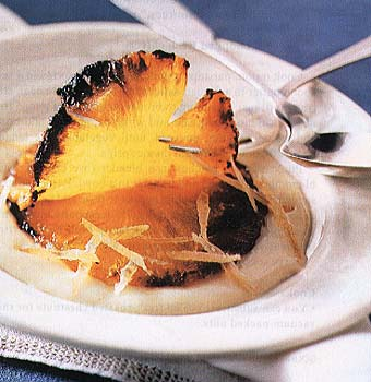 Caramelized Pineapple with Ginger Crème Anglaise