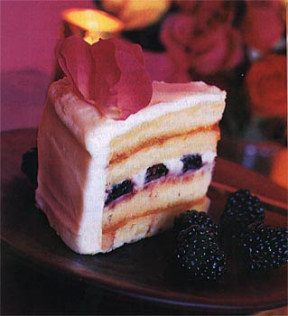 Wedding Cake with Blackberries and Roses
