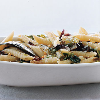 Penne Rigate with Mixed Greens and Pine Nuts