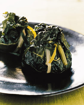 Swiss Chard Purses with Sausage Stuffing