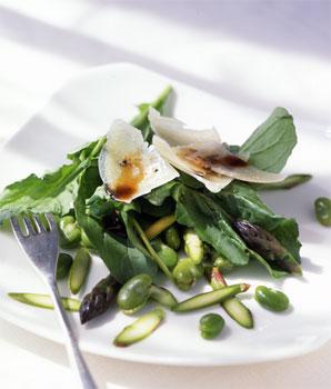 Fava Bean, Asparagus, and Arugula Salad with Shaved Pecorino