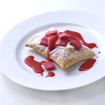Roasted Rhubarb Tarts with Strawberry Sauce