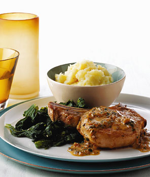 Sauteed Pork Chop with Sage-Cider Cream Sauce