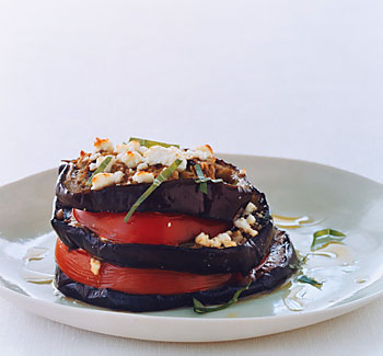 Grilled Eggplant Stacks with Tomato and Feta