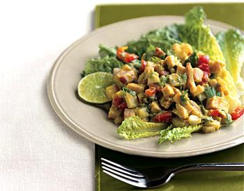 Turkey Chopped Salad with Spicy Avocado Dressing