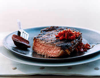 Rib-Eye Steaks with Harissa-Style Relish