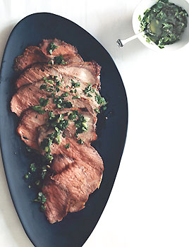 Roast Beef with Scallion-Caper Green Sauce