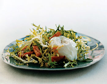 Salad with Canadian Bacon and Poached Eggs