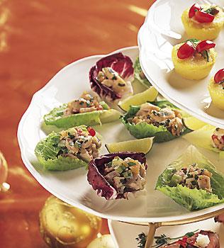 Herbed Chicken-Chutney Salad on Lettuce Leaves