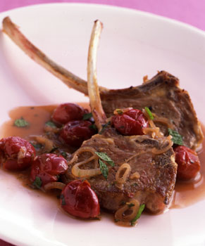 Lamb Chops with Cherry Balsamic Sauce and Mint