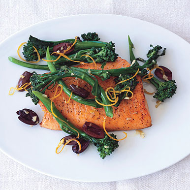 Seared Arctic Char with Broccolini, Olives, and Garlic